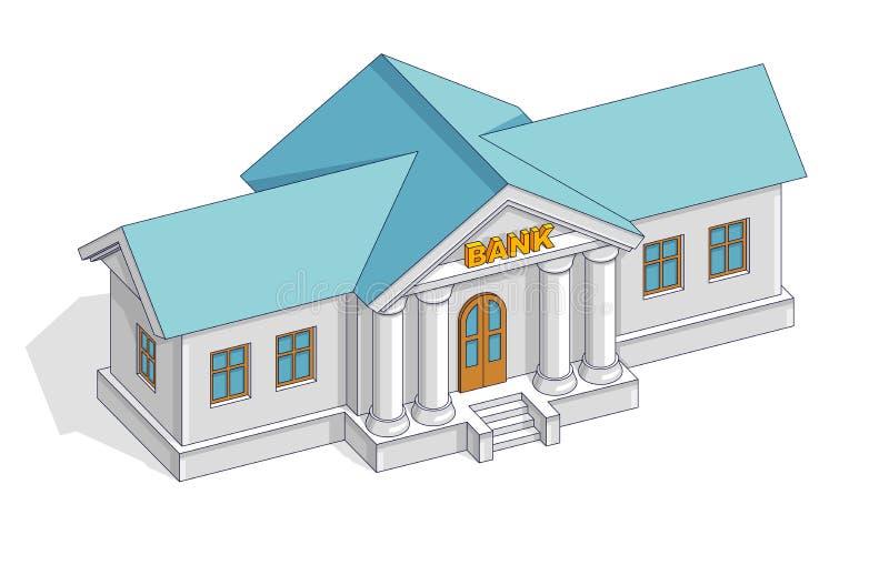 银行大楼减速火箭的葡萄酒建筑学动画片被隔绝在w 皇族释放例证