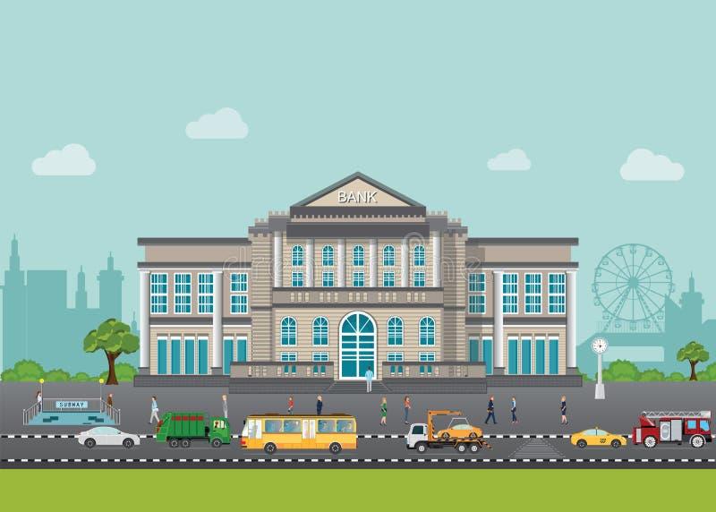 银行大楼外部在与街道和汽车的城市空间 向量例证
