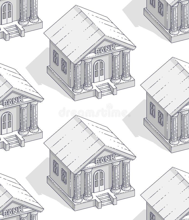 银行大楼无缝的背景,背景对于财政企业或银行业务网站或经济题材广告和信息, 向量例证