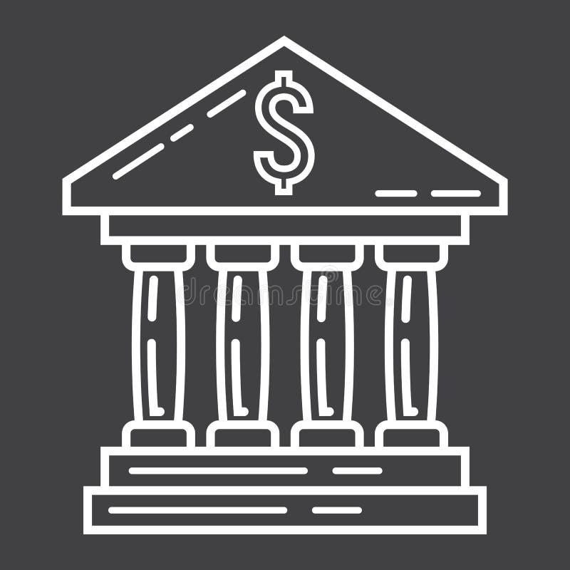 银行大楼线象、事务和财务 向量例证