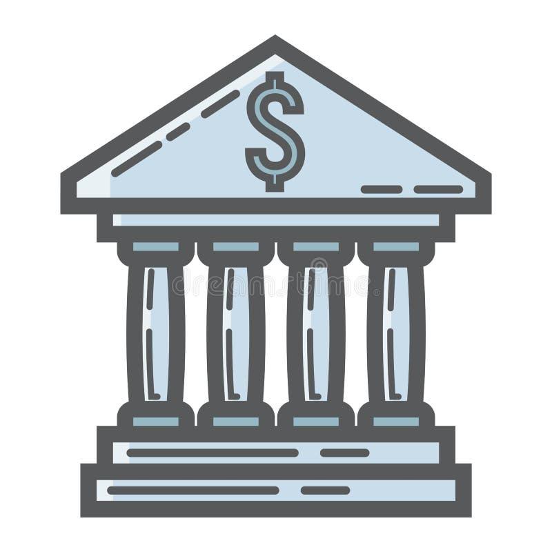 银行大楼被填装的概述象,事务 向量例证