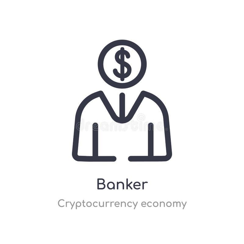 银行家概述象 被隔绝的线从cryptocurrency经济汇集的传染媒介例证 编辑可能的稀薄的冲程银行家象 向量例证