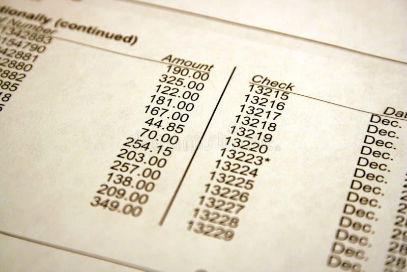 银行对帐单 库存图片