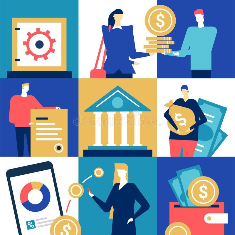 银行操作-平的设计样式五颜六色的例证 库存例证