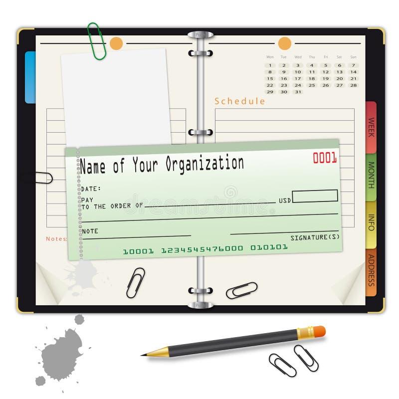 银行支票开放组织者铅笔 向量例证