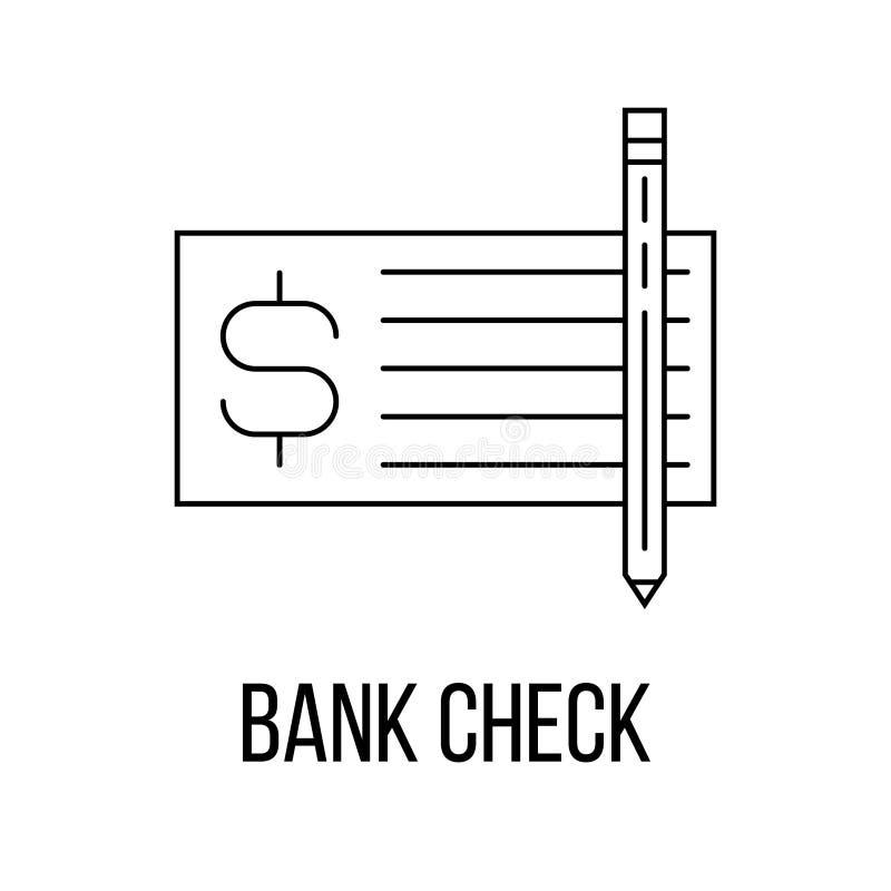 银行支票象或商标线艺术样式 库存例证
