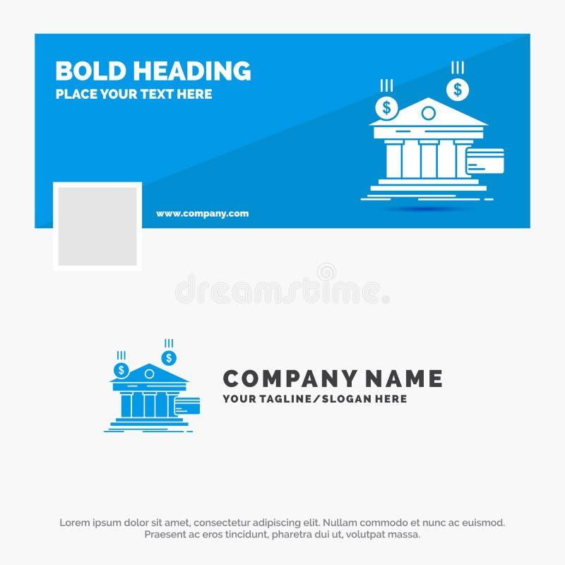 银行的蓝色企业商标模板,付款,银行业务,财政,金钱 r r 向量例证