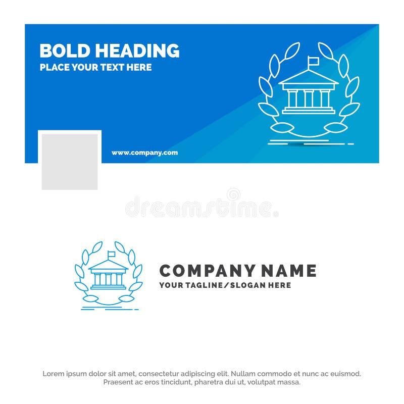 银行的蓝色企业商标模板,银行业务,网上,大学,大厦,教育 r ?? 皇族释放例证