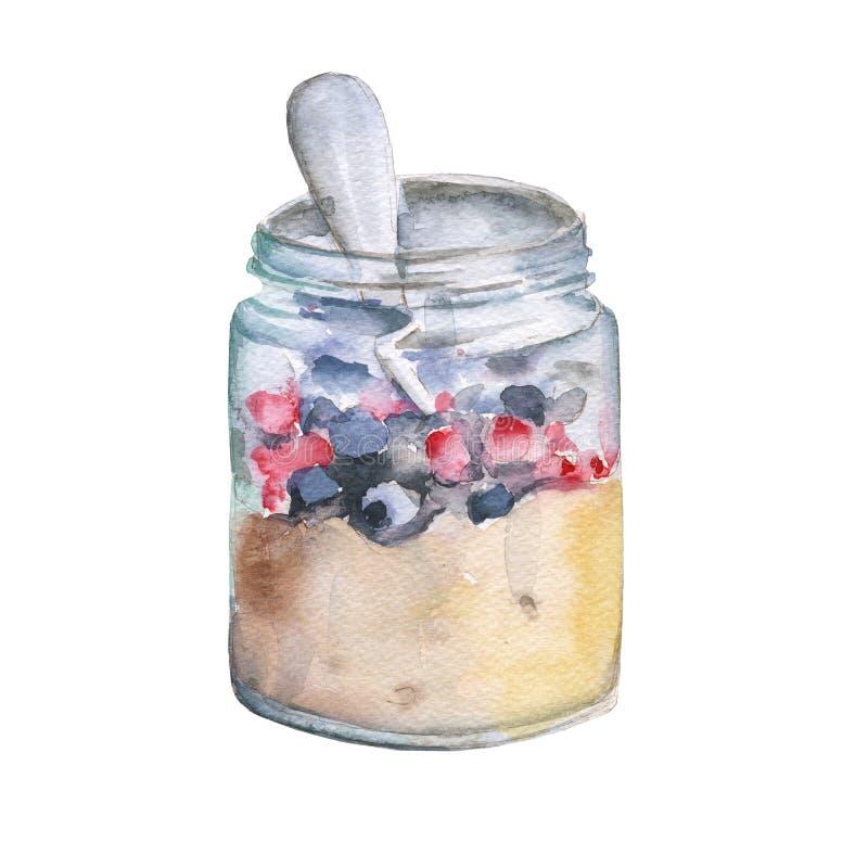 银行粥用果子和莓果 背景查出的白色 向量例证