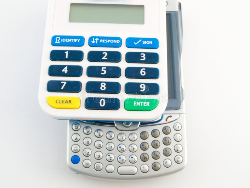 银行编码设备pda针安全性证券 免版税库存照片