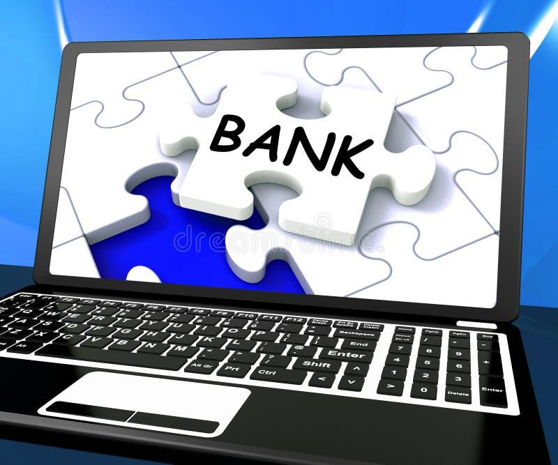 银行膝上型计算机展示互联网财务万维网或电子银行业务 向量例证