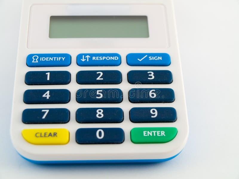 银行计算器编码设备针安全性证券 免版税库存照片