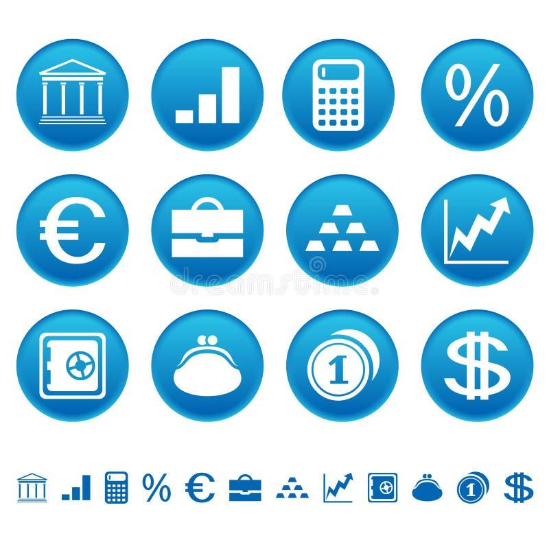 银行财务图标 皇族释放例证