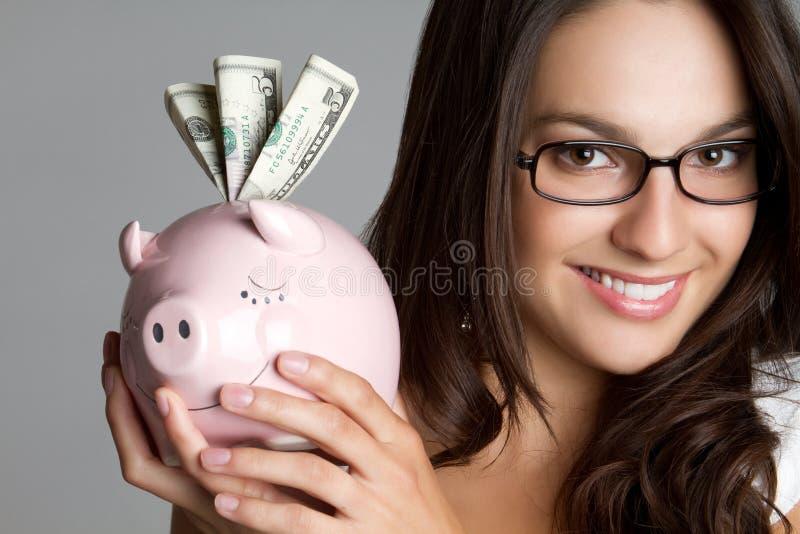 银行贪心妇女 免版税图库摄影