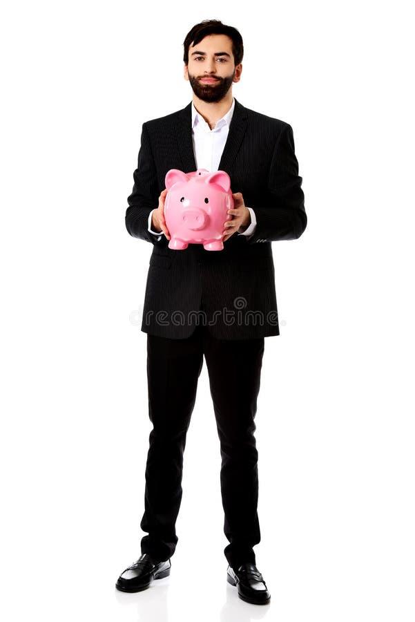 银行贪心生意人的藏品 库存照片