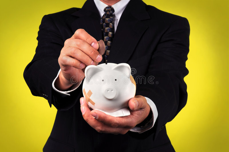 银行贪心生意人的藏品 库存图片