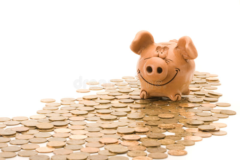 银行铸造堆猪位子 免版税库存照片