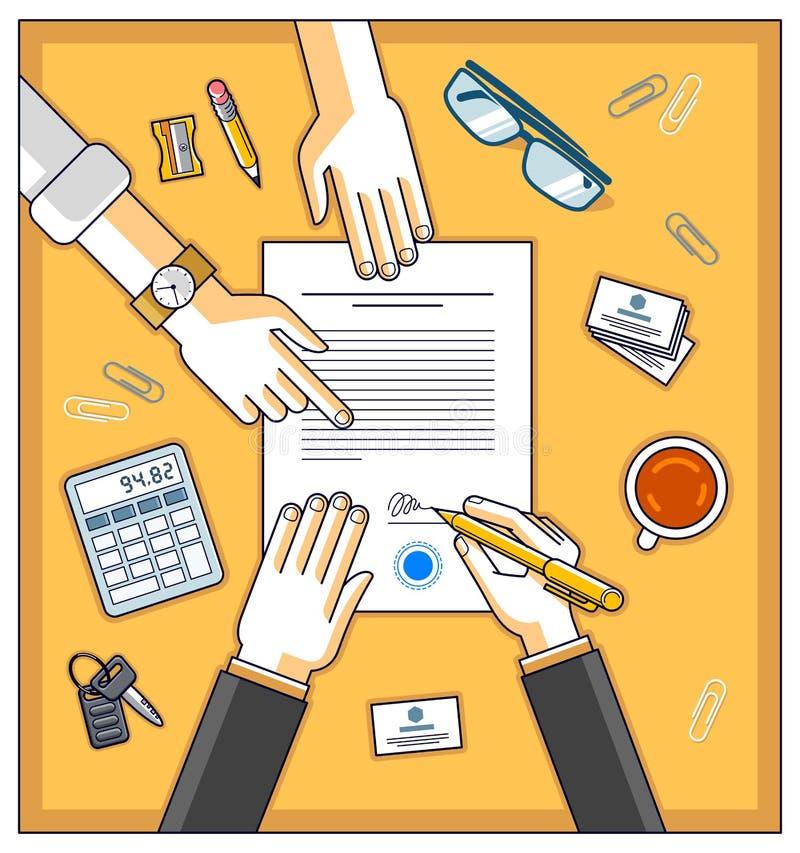银行顾客在金钱信用机智的财政形式写一个标志 库存例证