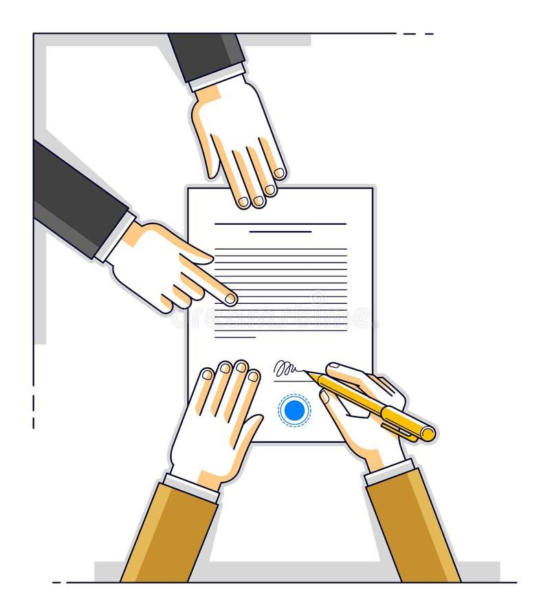 银行顾客在金钱信用机智的财政形式写一个标志 皇族释放例证
