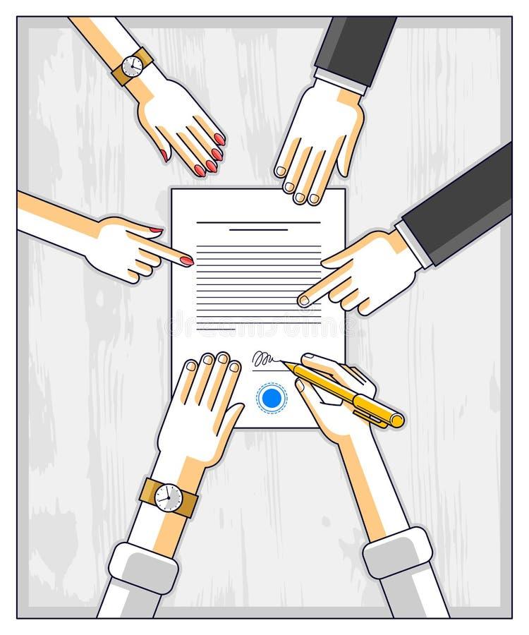 银行顾客在金钱信用的财政形式写一个标志与雇员的帮助他并且解释贷款的条款或 皇族释放例证