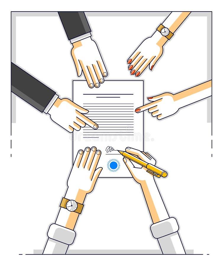 银行顾客在金钱信用的财政形式写一个标志与雇员的帮助他并且解释贷款的条款或 向量例证