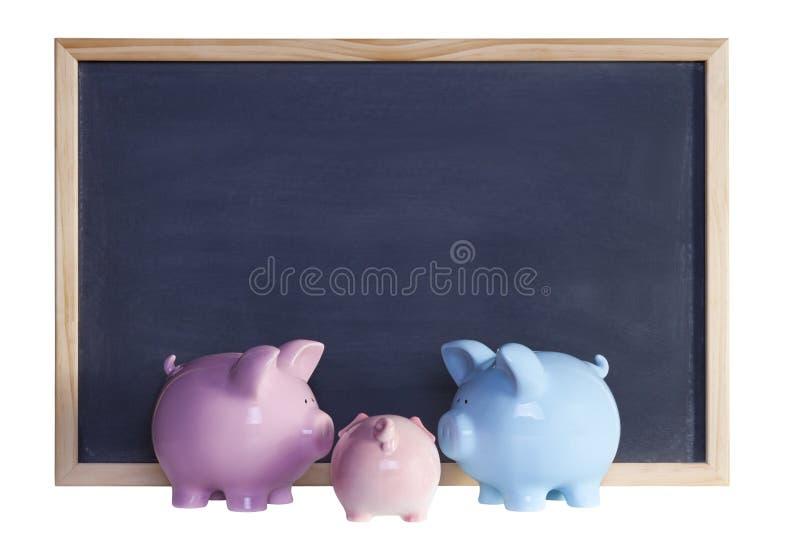 银行黑板贪心系列的前面 免版税库存照片