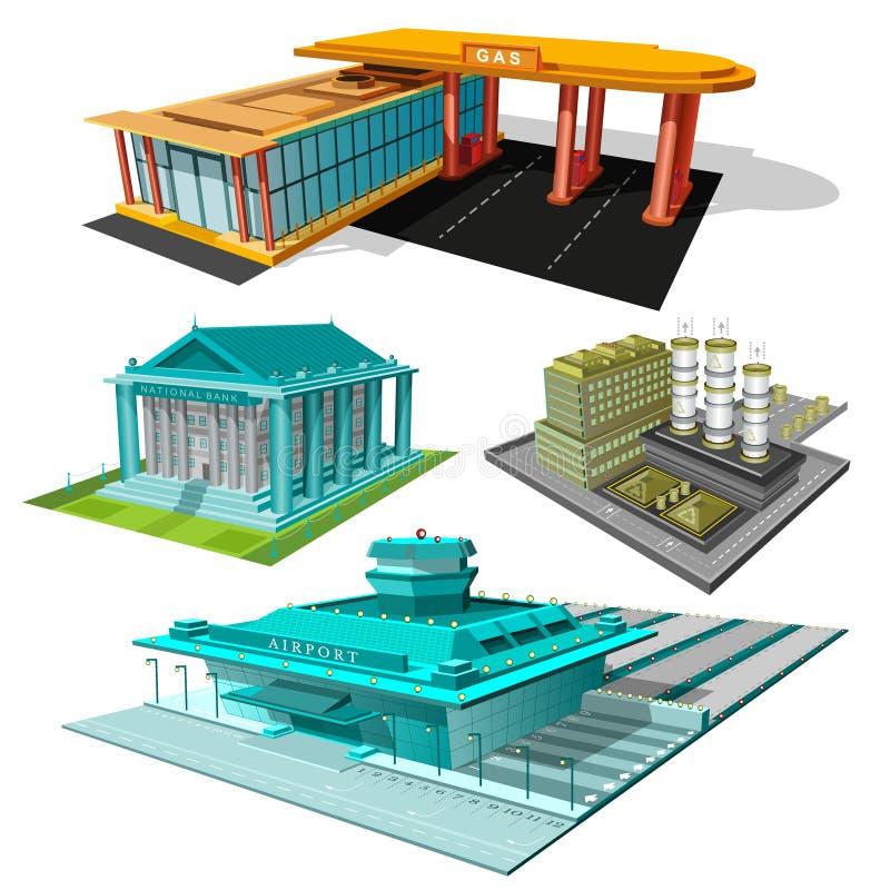 银行,工厂,机场,在白色隔绝的加油站被设置的等量大厦  库存例证