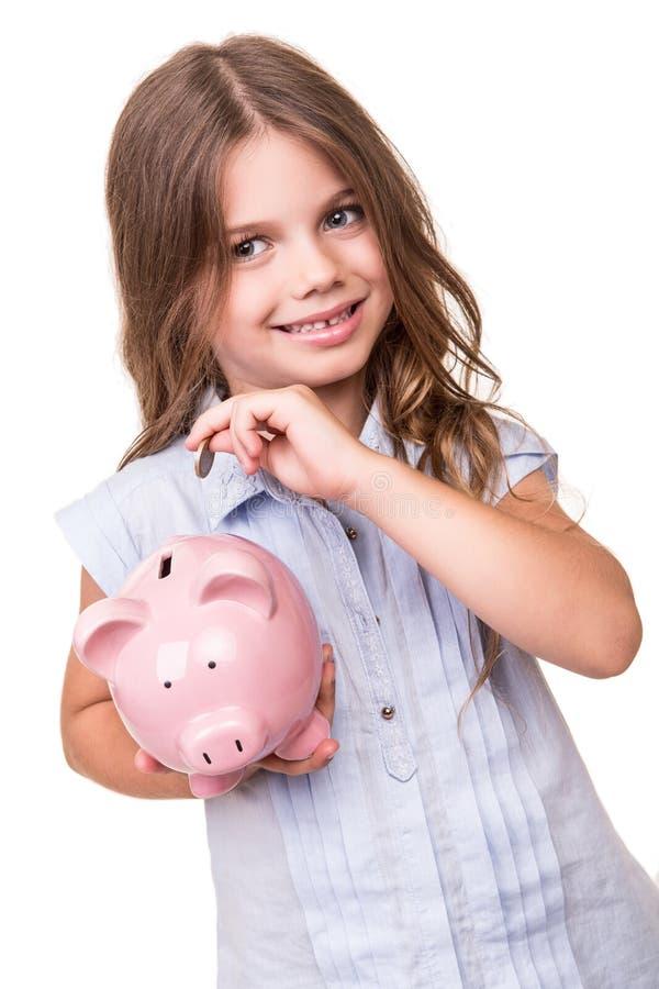 银行贪心女孩的藏品 免版税库存照片