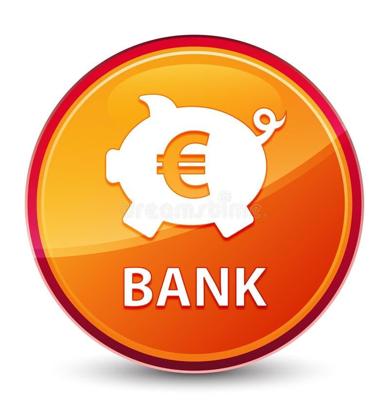 银行(贪心箱子欧元标志)特别玻璃状橙色圆的按钮 向量例证