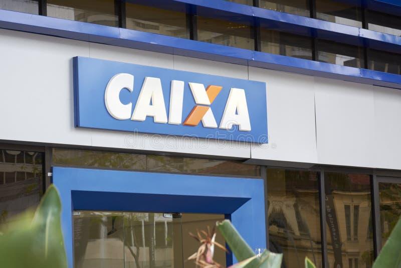 银行Caixa Economica大厦和商标联邦在圣保罗 免版税库存图片