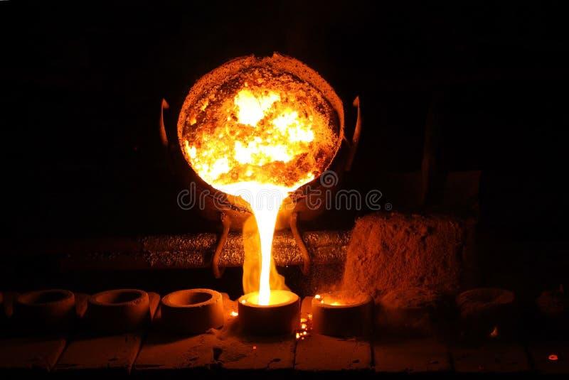 铸造厂杓子倾吐的金属溶解 免版税图库摄影