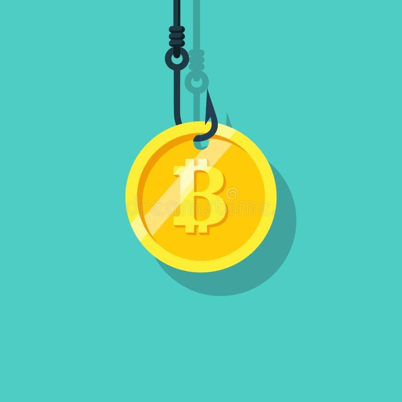 铸造在勾子的bitcoin 隐藏货币 向量例证