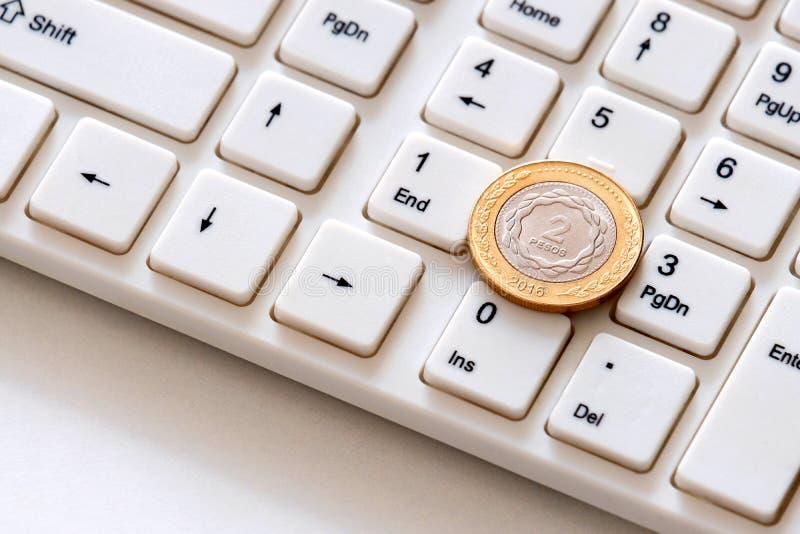 铸造在键盘特写镜头的两比索 阿根廷网上事务的概念 在网上收入 隐藏货币投资 免版税库存图片