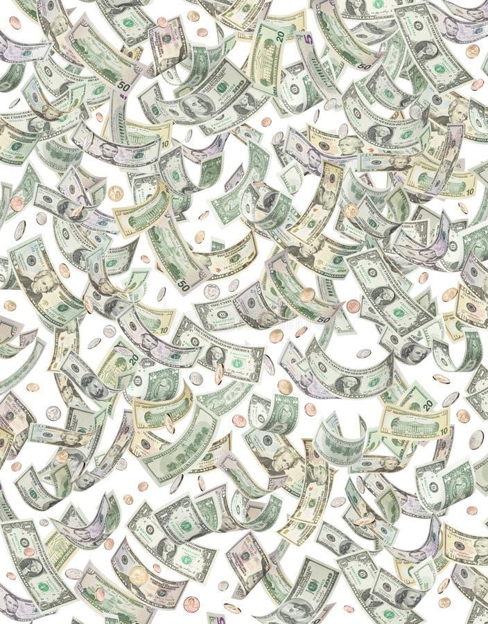 铸造美元下跌的货币下雨 免版税库存照片