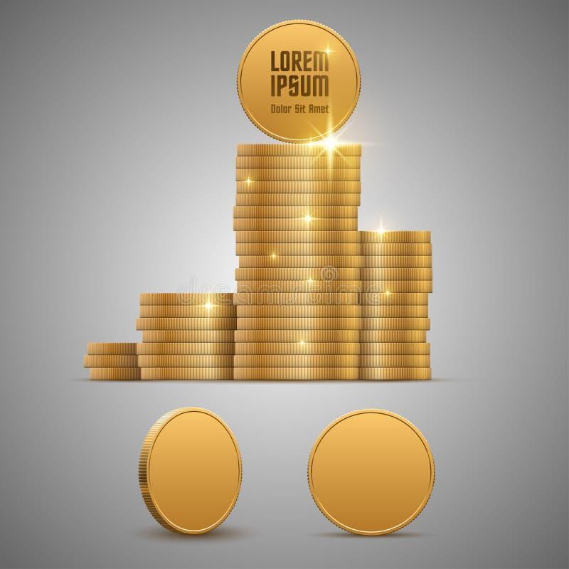 铸造美元欧元金子 皇族释放例证