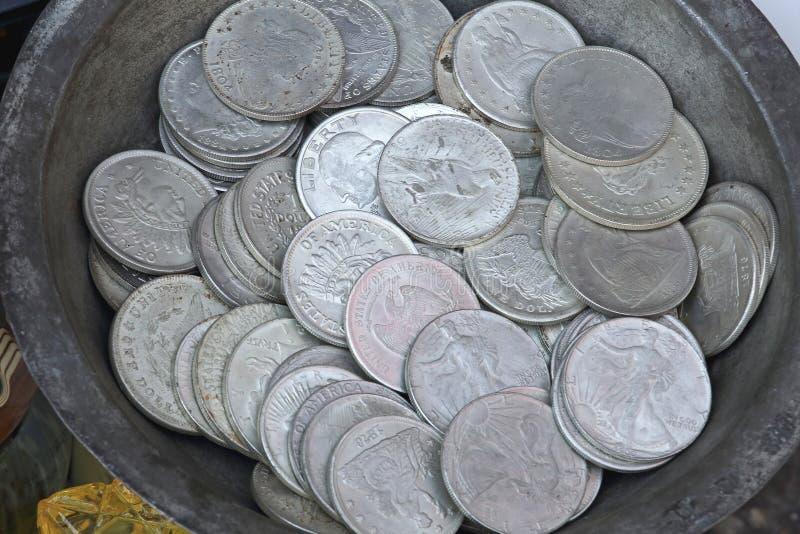 铸造美元银 免版税库存图片