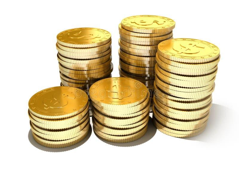 铸造金黄 向量例证
