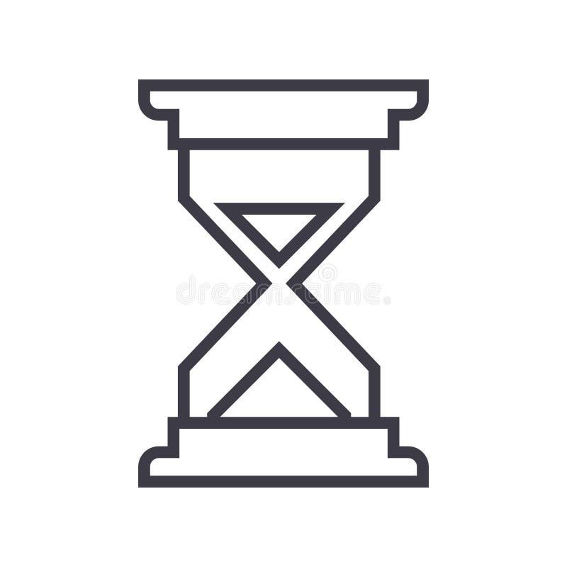 铺沙时间传染媒介线象,标志,在背景,编辑可能的冲程的例证 皇族释放例证