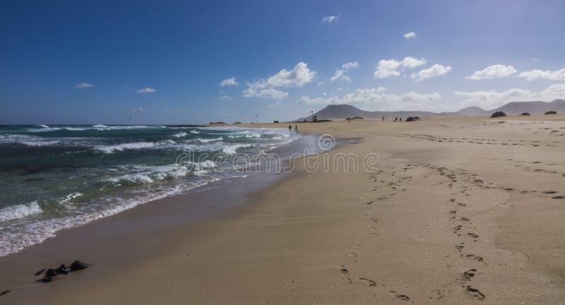 铺沙样式自然公园, Corralejo,金丝雀海岛,西班牙 库存图片
