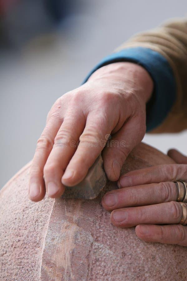 铺沙的石头 免版税库存图片