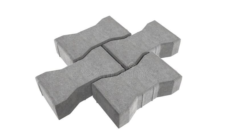 铺砖的回报三灰色锁 背景查出的白色 向量例证