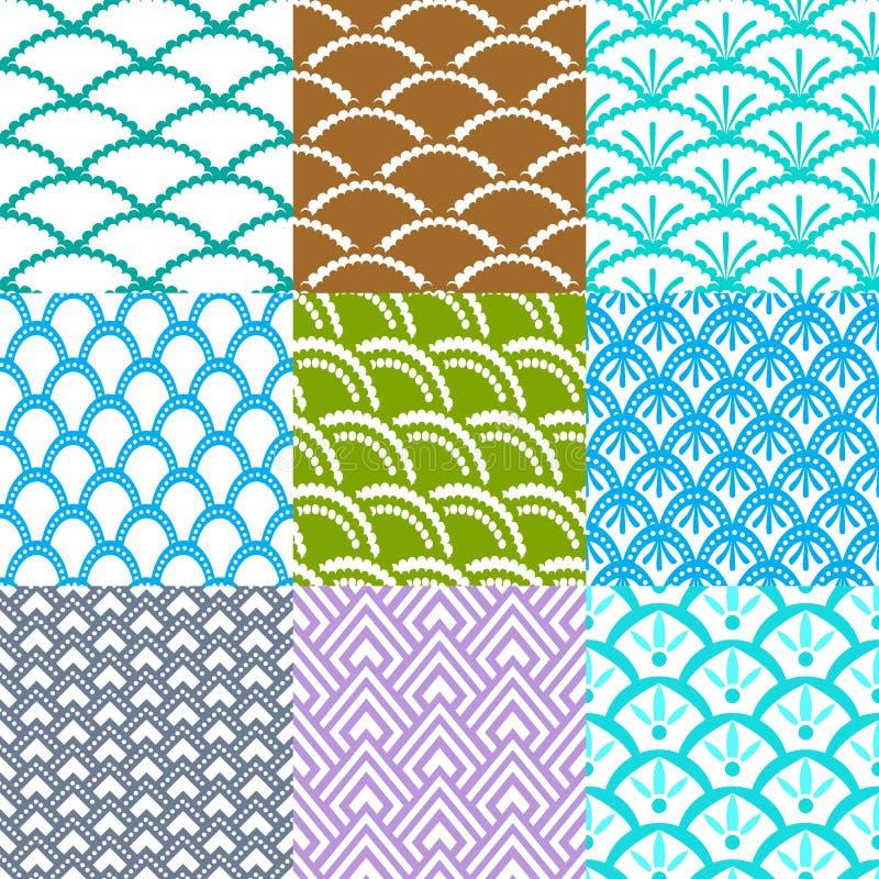 铺磁砖套九个亚洲几何的样式无缝 库存例证