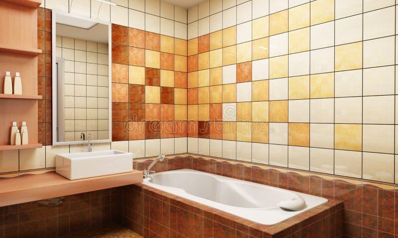 铺磁砖的卫生间设计 免版税库存图片