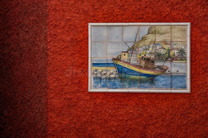 铺磁砖的墙壁艺术 图库摄影