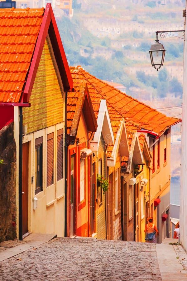铺磁砖的屋顶在波尔图 douro河培训视图 夏天城市风景 图库摄影