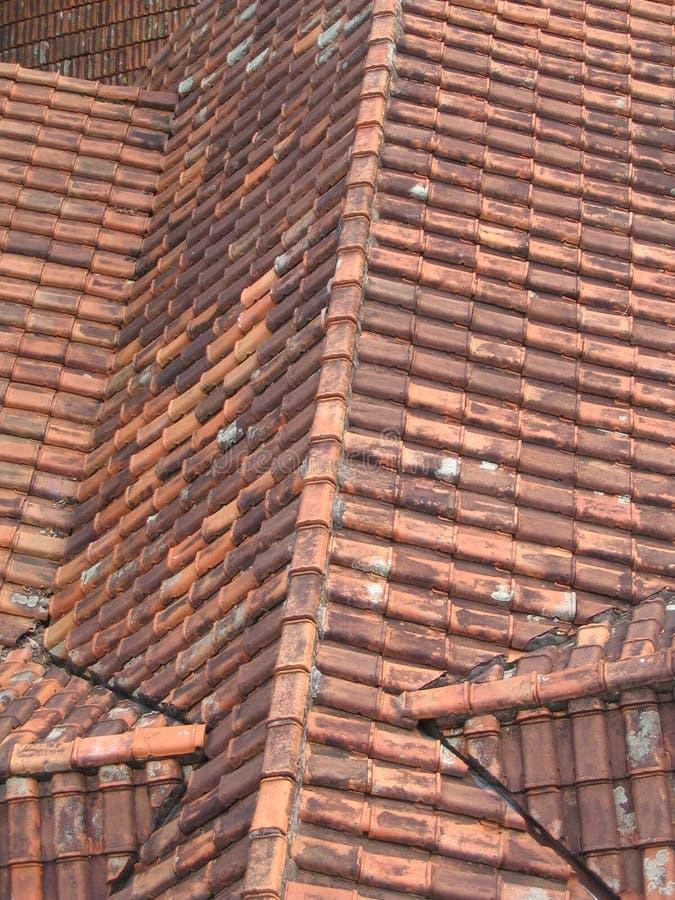 铺磁砖的老屋顶 库存图片