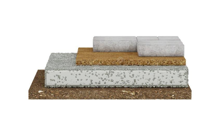 铺锁的横断面,地面,混凝土,沙子 背景查出的白色 皇族释放例证