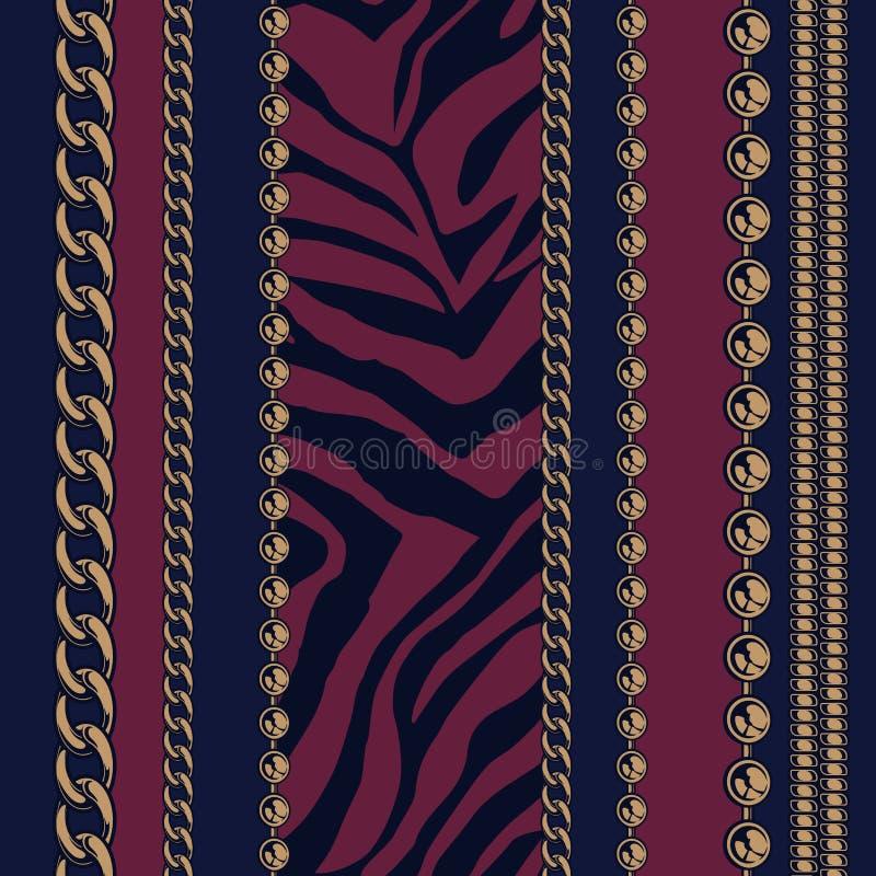 链子和动物印刷品的NSeamless样式 皇族释放例证