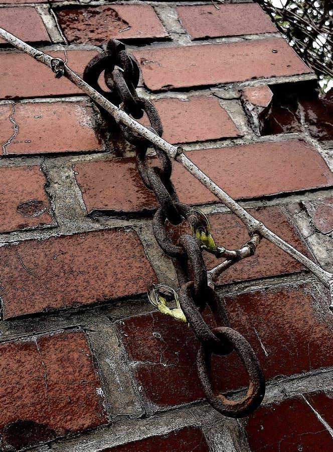 链子和墙壁 库存图片