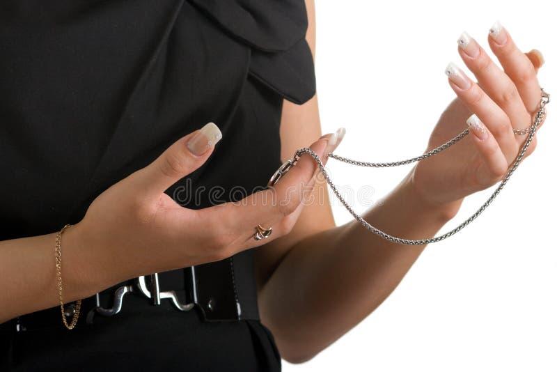 链子拿着宝石工人妇女 库存图片